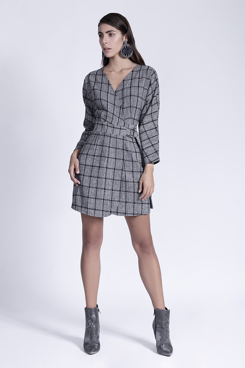 7033c8cf9 Félix Boutique - Vestido a cuadros gris